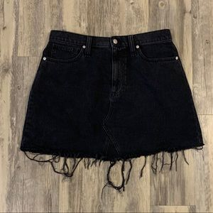 Madewell black denim skirt with frayed hem